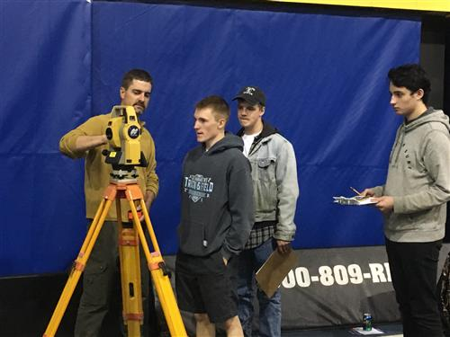 Students using surveying instruments