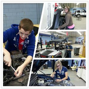 Students working on vehicles in automotive trades class