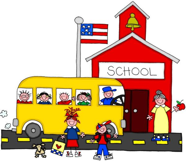 School bus in front of school